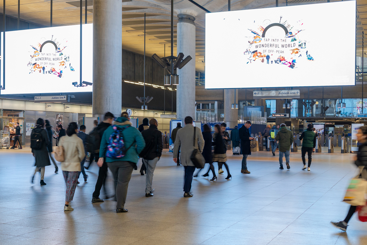 Canary Wharf station advertising billboards