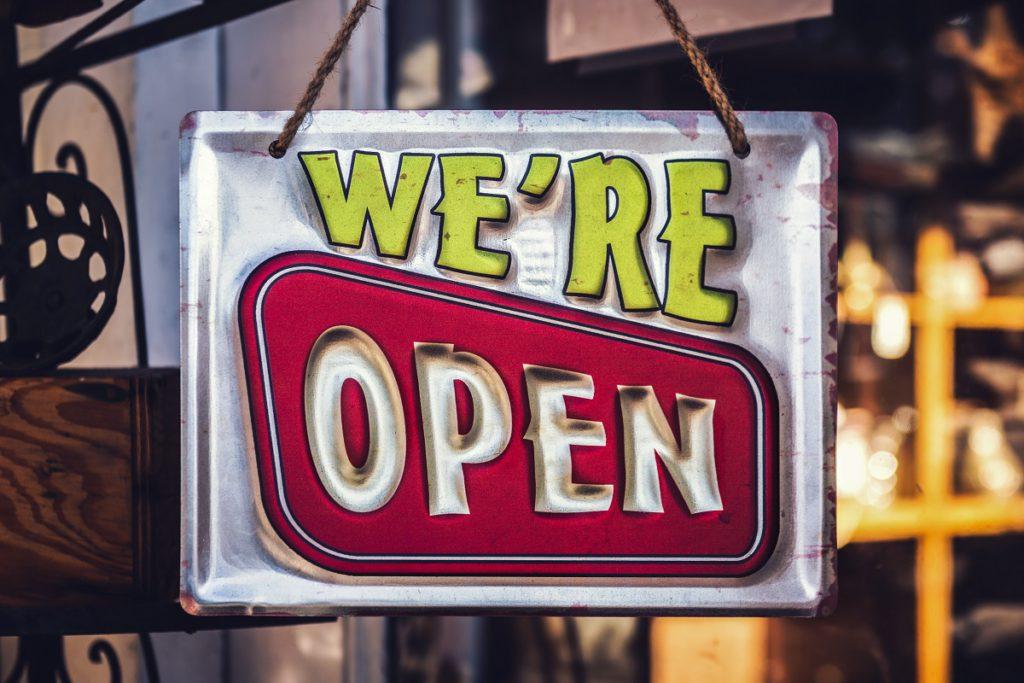 We're open sign