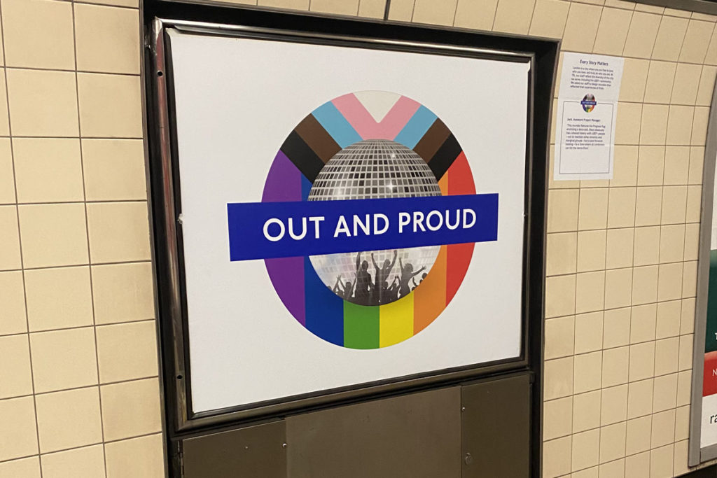Out and proud roundel at Vauxhall station.