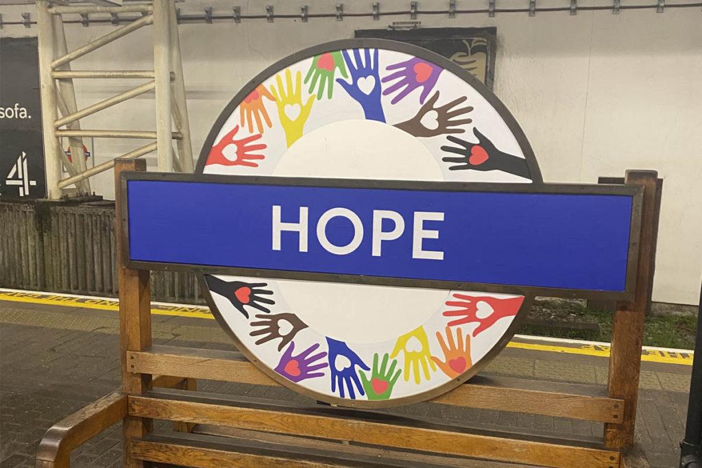 Hope pride roundel at Hammersmith station.